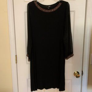 Black Dress with Gold Bead Detailing